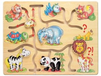Dětská dřevěná motorická pomůcka Najdi hlavu zvířátek - Afrika 3788096