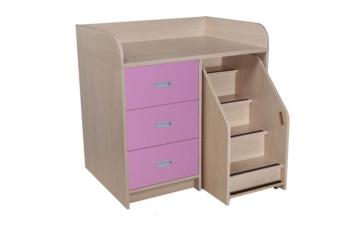 Přebalovací pult se třemi zásuvkami a schůdkami - 55.002