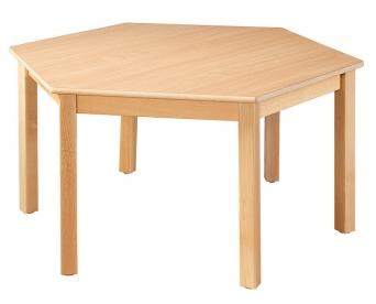 Dětský šestihranný dřevěný stůl s masivní podnoží průměr 120 cm - M16.11xx.