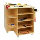 Dětský dřevěný dílenský stůl s dřevěnou deskou a svěrákem 0L061M
