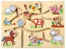 Dětský dřevěný motorický labyrint Farma 3788097