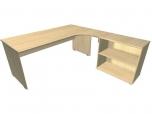 Stůl kancelářský pracovní ergo Hobis Standard ERG 1800 H s otevřenou skříní