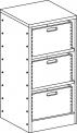 Skříňka se soklem s policemi a volnými zásuvkami - M22.128