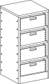 Skříňka se soklem s policemi a  volnými zásuvkami MIKI  PLUS - M22.130