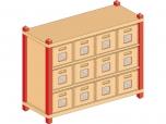 Skříňka s vloženými policemi a volnými zásuvkami MIKI TOP - M81.011
