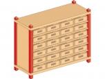 Skříňka s vloženými policemi a volnými zásuvkami MIKI TOP -  M81.014