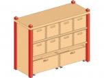 Skříňka s  vloženou policí a deseti volnými zásuvkami MIKI TOP - M81.018