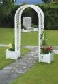 Oblouk na růže s truhlíky na rostliny - bílý