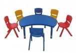 Dětský plastový stolek stůl kruh s výřezem výškově stavitelný 105x87 cm
