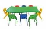 Dětský plastový stolek stůl nepravidelný obdélník výškově stavitelný 165x91 cm 571603