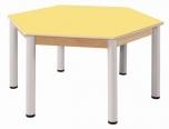 Stůl šestiúhelník 120 cm  výškově stavitelné nohy 52 - 70 cm - x56.115270