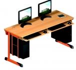 Dvoumístný počítačový stůl s kabelovým kanálem, výsuvem a držákem pro PC