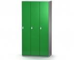 Šatní plechová skříň s naloženými dveřmi třídílná, třídveřová F1S 40 3 1 S AD (modul 120 cm)