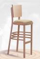 Barová dřevěná ohýbaná židle čalouněná Lineta Bar 6194
