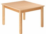 Dětský čtvercový dřevěný stůl standard s masivní podnoží 80x80 cm - x16.3XX
