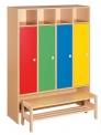 Dětský dřevěný, šatní čtyř blok bez zámků s lavičkou - M20.114