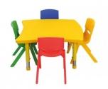 Dětský plastový stolek stůl nepravidelný čtverec výškově stavitelný 86x85,5 cm 571503