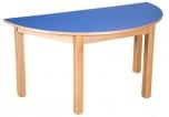 Dětský půlkulatý dřevěný stůl s masivní podnoží 120x60 cm - x16.6XX.barva