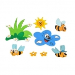 DoDo Dřevěná dekorace louka a včelky