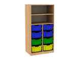 Dřevěná dětská skříň policová s plastovými boxy široká střední výška
