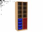 Dřevěná dětská skříň policová s plastovými boxy široká vysoká