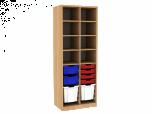 Dřevěná dětská skříň policová s různými plastovými boxy široká vysoká