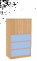 Dřevěná dětská skříň s dvířky a zásuvkami široká střední výška