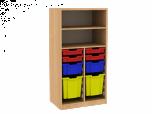Dřevěná dětská skříň s policemi a plastovými boxy široká střední výška C
