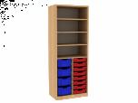 Dřevěná dětská skříň s policemi a plastovými boxy široká vysoká