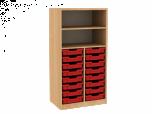 Dřevěná dětská skříň s policemi a plastovými boxy široká střední výška