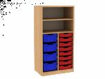 Dřevěná dětská skříň s policemi a plastovými boxy široká střední výška B