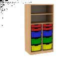 Dřevěná dětská skříň s policemi a plastovými boxy široká střední výška D