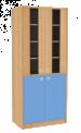 Dřevěná dětská skříň široká s rozdělenými dveřmi prosklená vysoká