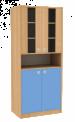 Dřevěná dětská skříň široká s dveřmi policí a prosklením vysoká
