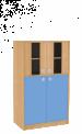 Dřevěná dětská skříň široká s prosklenými dveřmi střední výška