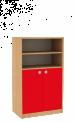 Dřevěná dětská skříň široká s dvířky a policemi střední výška