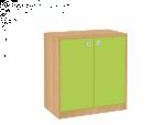 Dřevěná dětská skříň široká s dveřmi - nízká