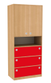 Dřevěná dětská skříň široká s dveřmi policí a zásuvkami vysoká