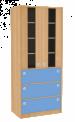 Dřevěná dětská skříň široká s dveřmi zásuvkami a prosklením vysoká