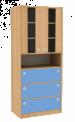 Dřevěná dětská skříň široká s prosklenými dveřmi policí a zásuvkami vysoká