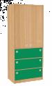 Dřevěná dětská skříň široká s dveřmi a zásuvkami vysoká