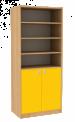 Dřevěná dětská skříň široká s dveřmi a policemi vysoká