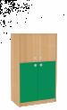 Dřevěná dětská skříň široká s rozdělenými dveřmi střední výška