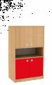 Dřevěná dětská skříň široká s rozdělenými dveřmi a policí střední výška