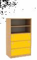 Dřevěná dětská skříň široká s policemi a zásuvkami střední výška