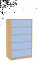 Dřevěná dětská skříň široká se zásuvkami střední výška