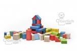 Dřevěné kostky barevné, 33 mm, 50 kusů