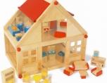 Dětský dřevěný domek domeček dům pro panenky s nábytkem 40x26 cm
