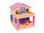 Dětský dřevěný domek domeček dům pro panenky na hraní růžový 541167