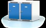 Nástavec na šatní plechovou skříň dvoudílný, dvoudveřový na soklu N1A 35 2 1 O (modul  70 cm)